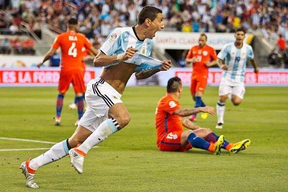 Di María marcó el 1° gol de Argentina en la competición. Vía @InfoBocaTW