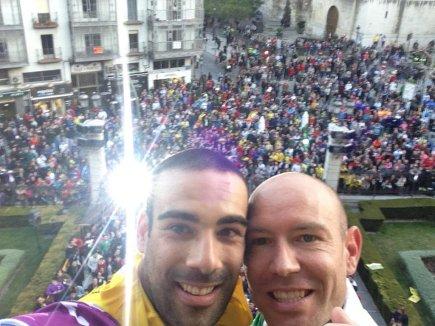 Prieto y José López celebrando el titulo en Jaen. Foto Vía: twitter.com