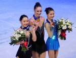 Wakaba Higuchi, Kaetlyn Osmond y Satoko Miyahara