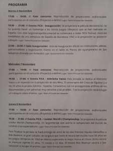 Programa del Festival FICA del 6 al 10 de noviembre.