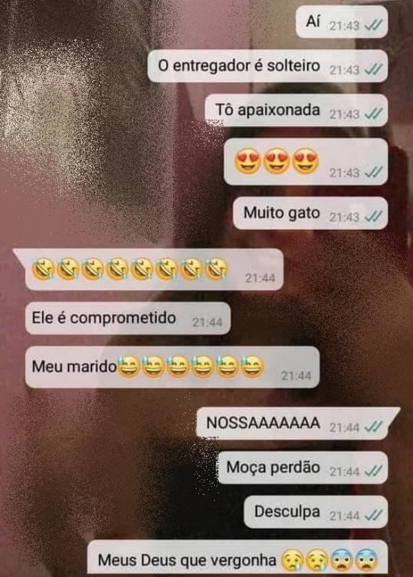 print whatsapp com mulher apaixonada pelo entregador