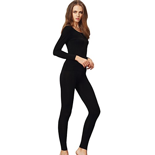 Womens Scoop Neck Thermal Underwear Set Stretch Comfy Base Layer Long Johns