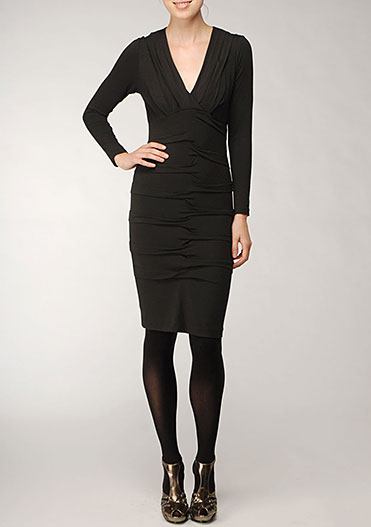 Nicole Miller Black Jersey Tuck Dress