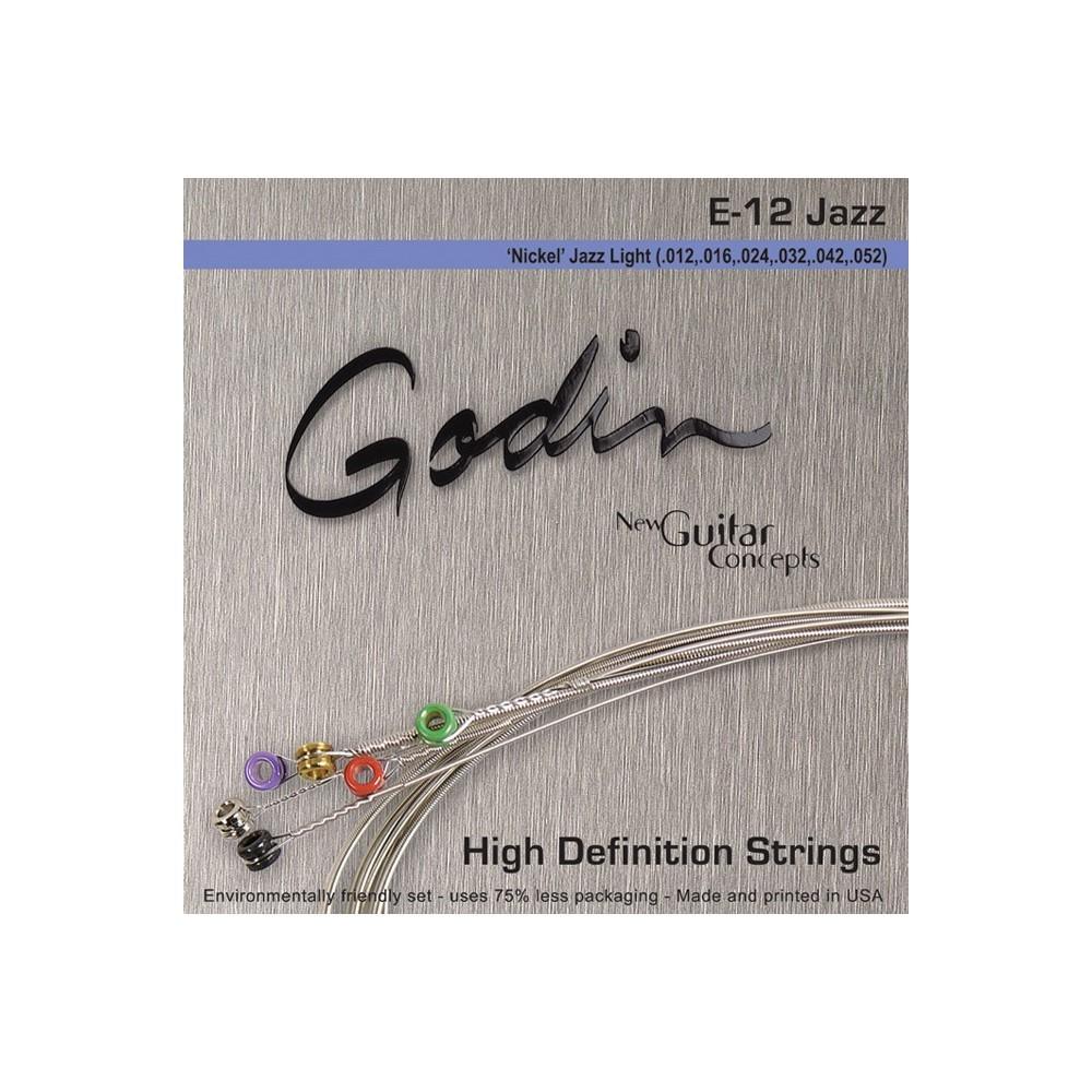 Cordes electriques Jazz (.012, .016, .024w, .032, .042, .052) Boite de 10