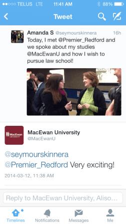 Meeting Premier Redford - Twitter Post