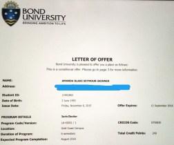 Letter of Offer from Bond University
