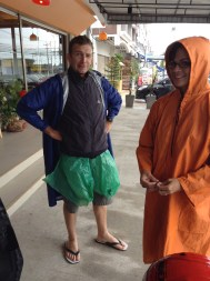 Here Glen and Janelle showed off their coats and handmade pant water proofing system!!
