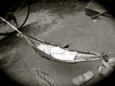 Another one of the hammocks the kids made for their dolls.