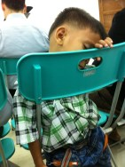 Abby took this picture of this little guy snoozing during the meeting. LOL