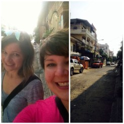 Marcie and I on our first day out and the street we worked.