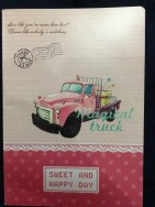 A confusing notepad cover...? Such a beautiful PINK work truck and all this nonsense about love!
