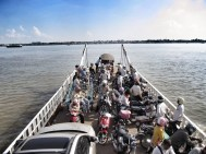 This is the back end of the ferry as we head over the Mekong for the morning.