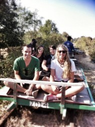 With our buddies Aaron and Erika on the bamboo train in Battambang. Was fun. Basically a rickety slat platform and a lawnmower motor. Hold on to your butts!!