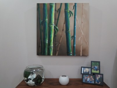 Finally finished our bamboo painting for our living room.