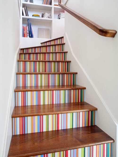 19 Painted Staircase Ideas For Your Home Decor Inspiration | Wall Painting Designs For Staircase | Side Wall | Upstairs | Art Staircase | Boy | Creative