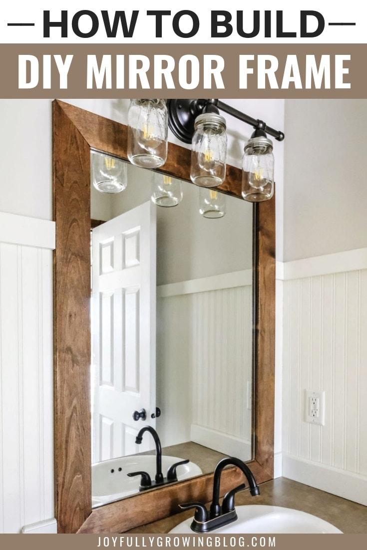diy wood frame to a bathroom mirror