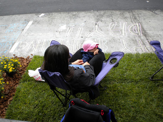 A mom and her little one enjoy the SFBC site. Photo: sfbike