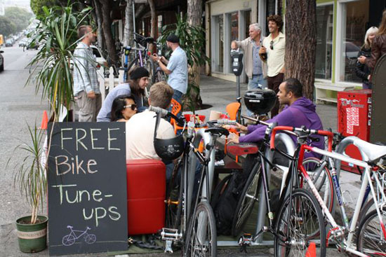 Free bike tune-ups and lounging in front of Timbuk2.