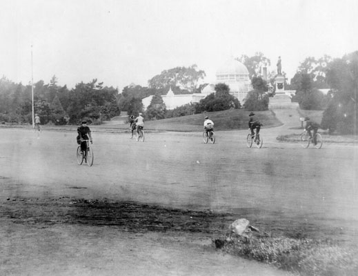 Cyclists near the Conservatory of Flowers, 1899. Courtesy San Francisco History Center, SF Public Library