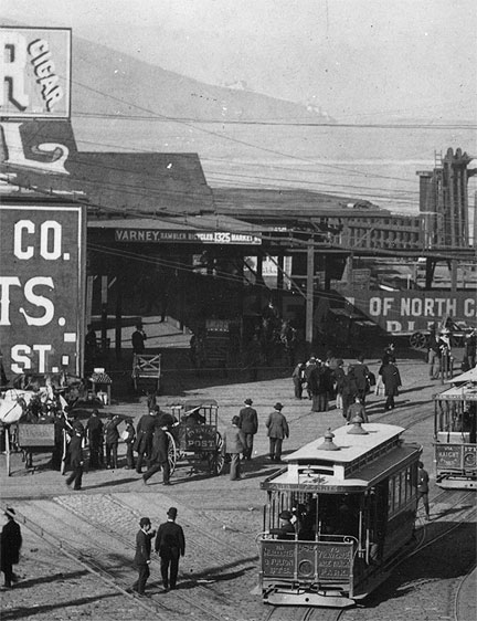Varney Bicycles sign on old Ferry Buildilng, c. 1880s.