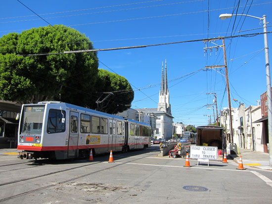 J-Church trains reverse direction at Church and Day Streets
