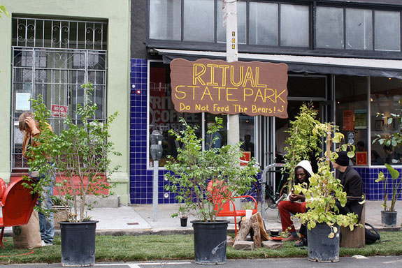 This temporary park in front of Ritual Roasters is expected to be transformed into a permanent parklet. Photo: Bryan Goebel
