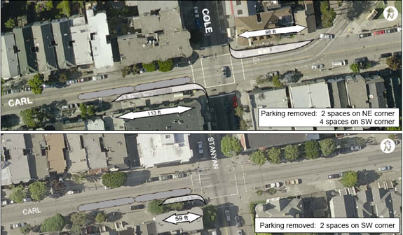 The proposal has been modified to include 9-foot sidewalks in both directions. Image: SFMTA
