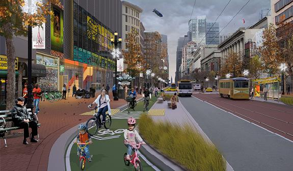 The SFBC's vision for a Market Street on the Bay to Beach Bikeway. Image: SFBC
