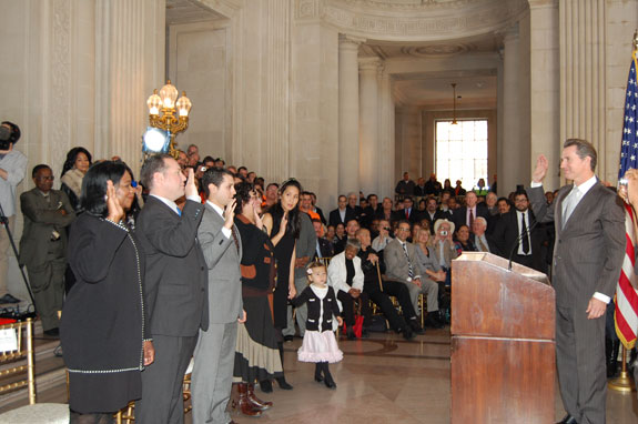 Leona Bridges, far left, was among the mayor's appointees sworn in at City Hall today. Photo: Mayor's Office