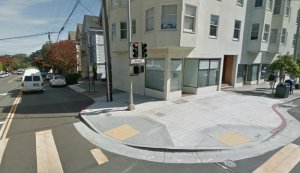 """The SFCTA wants to authorize more expenditures on """"Bulb-outs"""", or curb extensions, like this one at 7th Ave. and Irving Street. Image: Google Maps"""