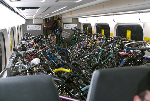 Caltrain Bike Car Packed With Bikes