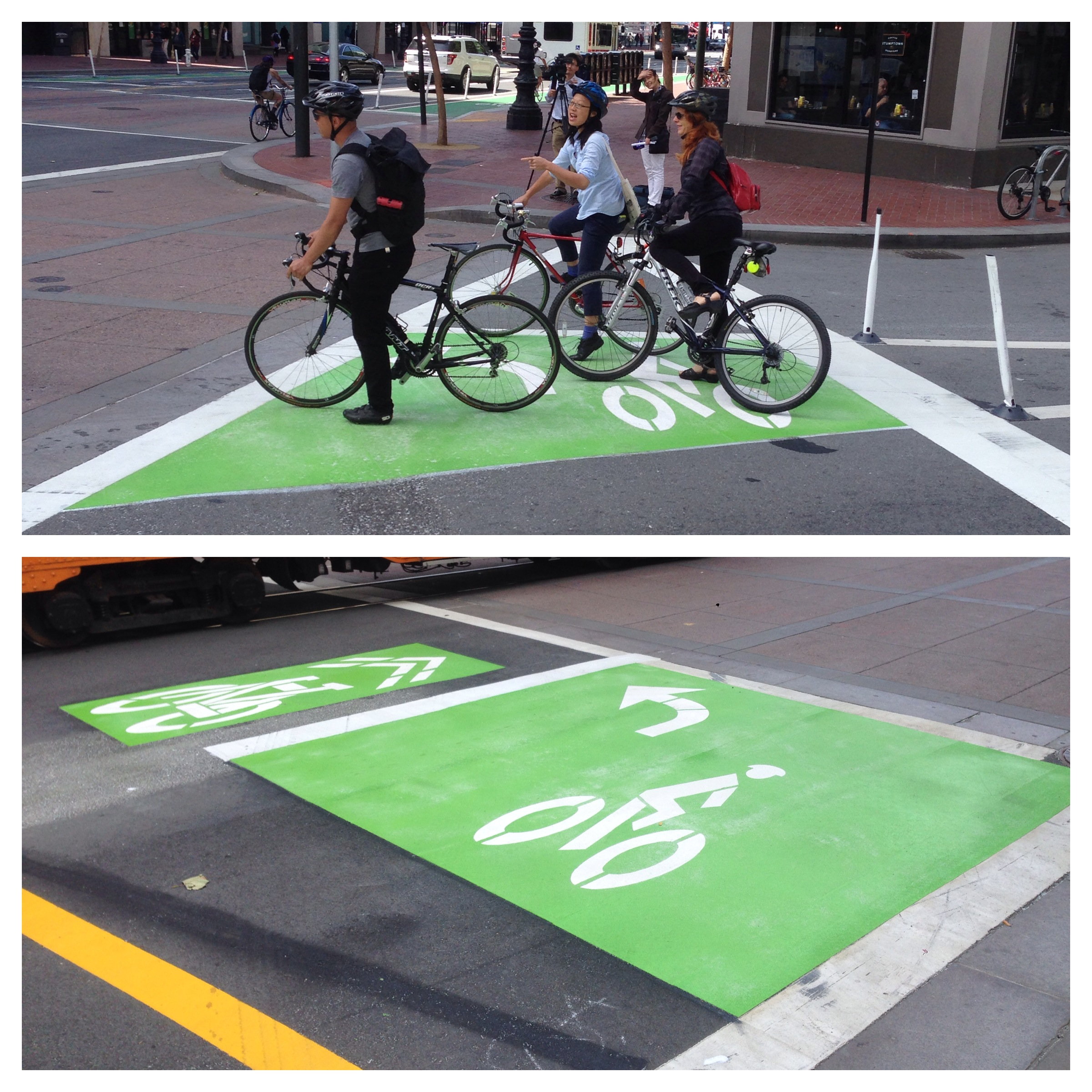 Excited advocates use the new left-turn queue boxes, which direct bicyclists to and from the Polk Street bike lanes. Photo: Stan Parkford.