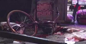 Watson's bicycle as seen after the crash. He was believed to have been standing or walking with it. Image: KRON 4 via Youtube