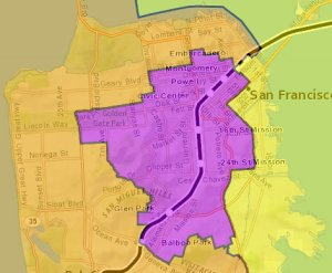 BART District 8 is shown in orange on the left. Image: BART