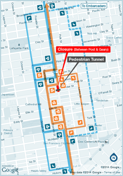 A map of detours during CPMC's series of traffic closures. Image: CPMC