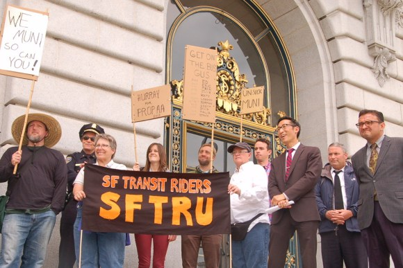 Supervisors Mar and Campos, right, at the press conference with SFTRU advocates. Photo: Aaron Bialick
