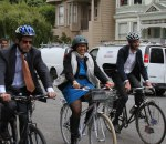Supervisor Breed rides the Wiggle with the SF Bicycle Coalition's Noah Budnick (right) and SFMTA Director Ed Reiskin after a recent celebration of the Fell and Oak bike lanes. Photo: SFBC/Flickr