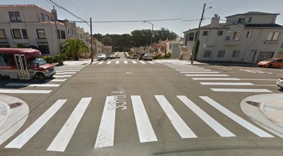 33rd Avenue at Cabrillo Street in the Outer Richmond. Photo: Google Street View