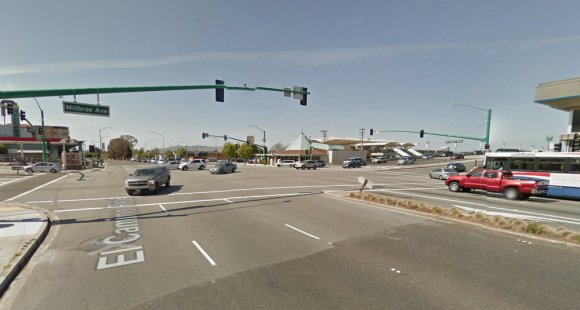 The intersection of El Camino Real and Millbrae Avenue, just outside the station. Photo: Google Street View