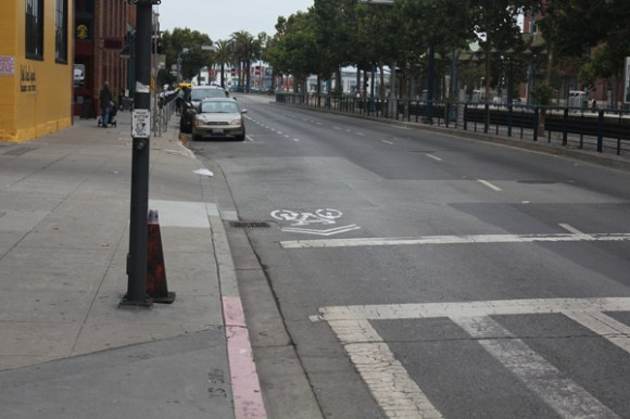 King's westbound bike lane disappears between Second and Third Streets. Photo: I Love Biking SF