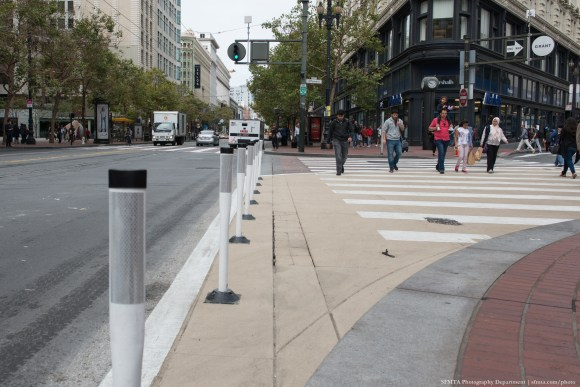 """A """"safety zone"""" at Market and Grant Streets. Photo: SFMTA"""