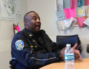 SFPD Captain John Sanford sat down for two hours yesterday with Streetsblog and a neighborhood advocate to talk about safer streets. Photo: Aaron Bialick
