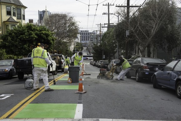 Paint Shop Crew Installing New Bike Lane on Page Street | February 17, 2016