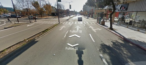 Fulton Street in Berkeley near where Schwarzman was severely injured while cycling. Image from Google Street View.