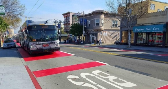 Right lane transitways on Mission leave no place for cyclists. Image: SFMTA