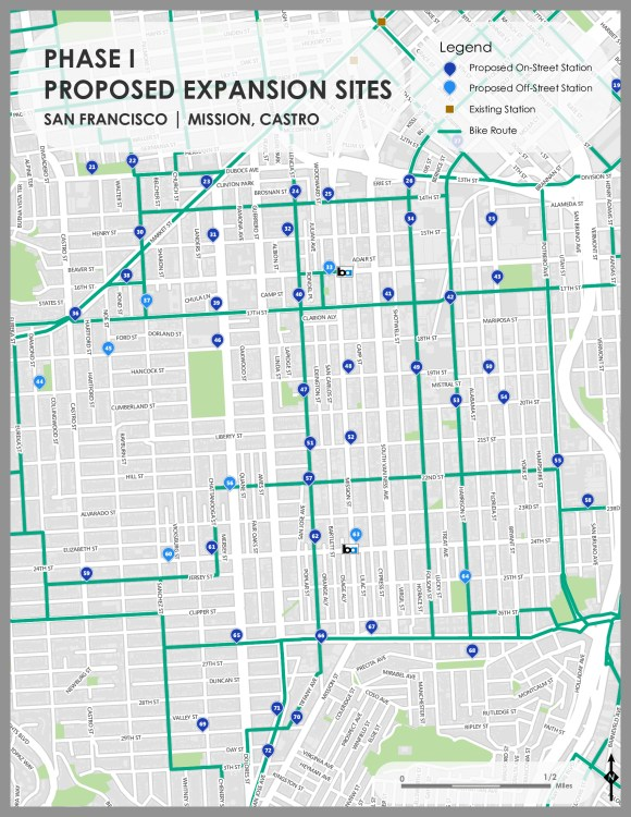 The Castro is among the areas to get more bike share stations in Phase I of the expansion. Image: Bay Area Bike Share.