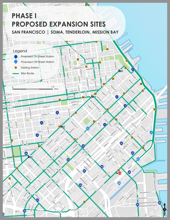 Bay Area Bike Share has mapped proposed bike share locations South of Market and elsewhere. Image: Bay Area Bike Share.
