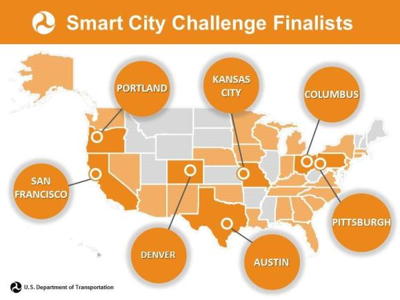 A map of the Smart City Finalist Cities. Image: USDOT
