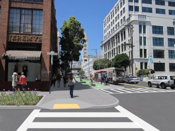 2nd Street will look like this sometime in Mid-2018. Image: SFMTA
