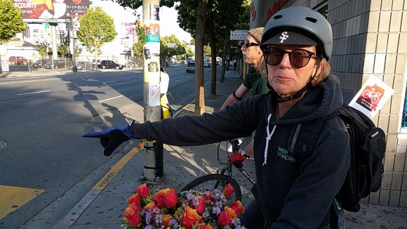Devon Warner, who organized the ride, at the location where Amelie Moullac was killed in 2013. Photo: Streetsblog.